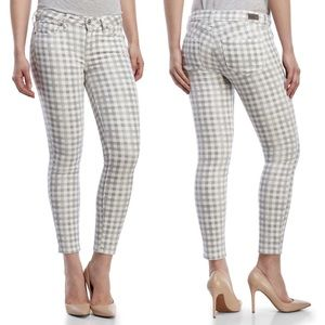 Paige Gray Gingham Verdugo Ultra Skinny Ankle Jean